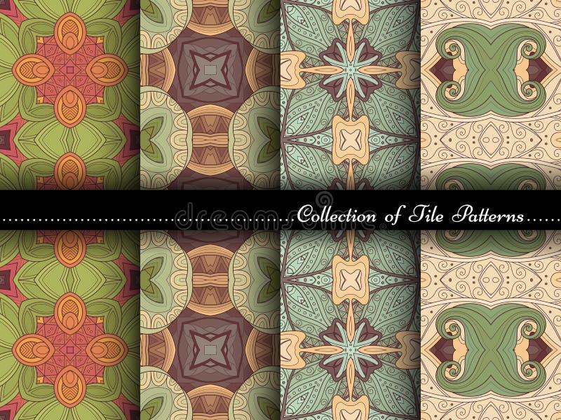 Vectorinzameling van Naadloze Uitstekende Patronen stock illustratie