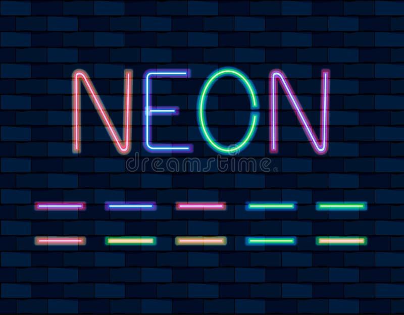 VECTORinzameling van Neon Brishes, verschillende kleur, T.L.-buizen op bakstenen muur stock illustratie