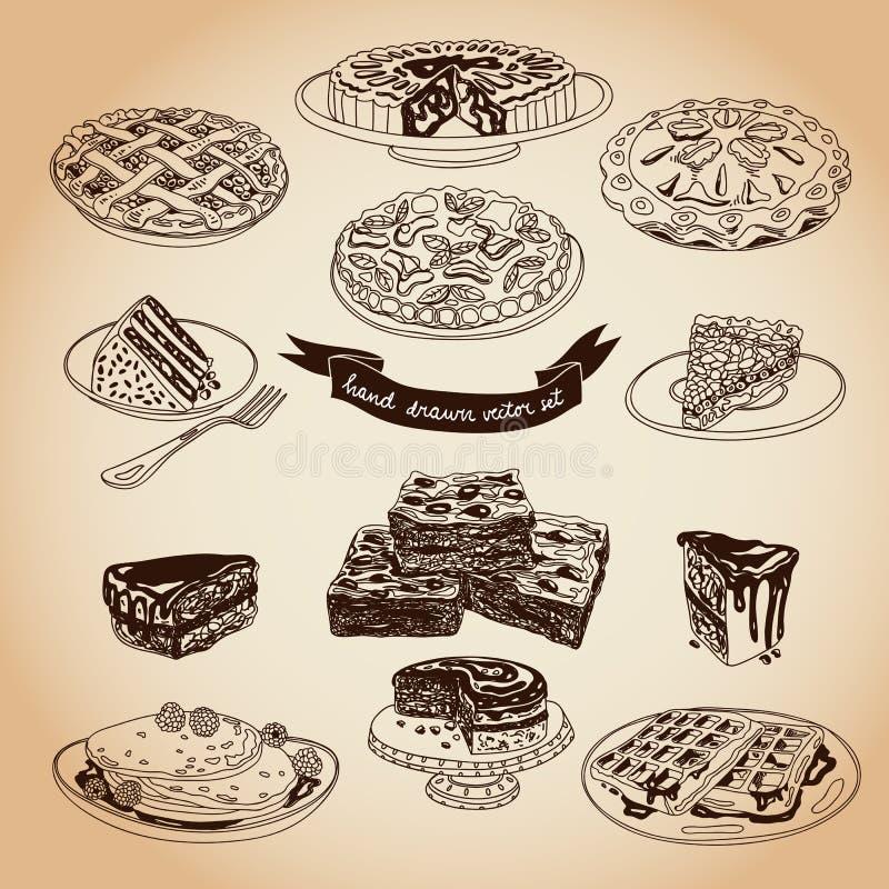 Vectorinzameling van pastei, cakes en snoepjespictogrammen stock illustratie