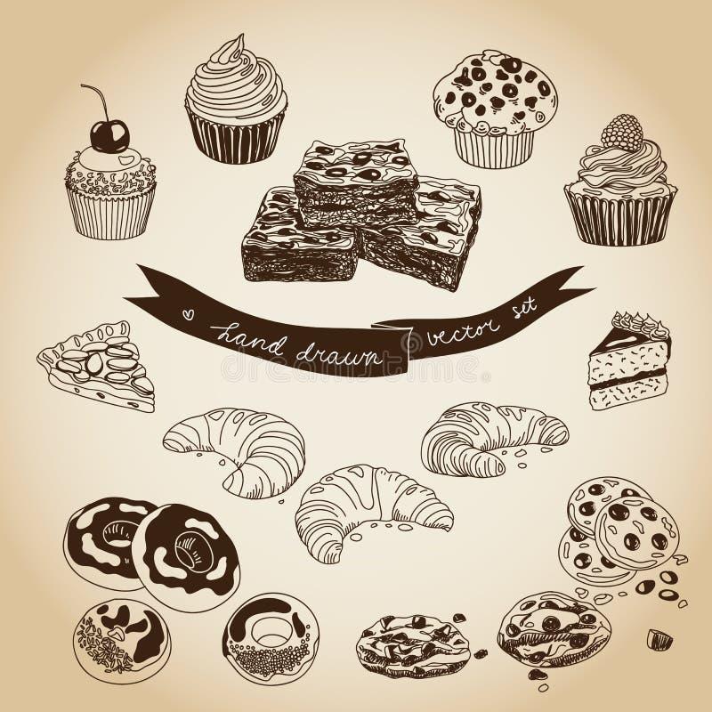 Vectorinzameling van pastei, cakes en snoepjespictogrammen royalty-vrije illustratie