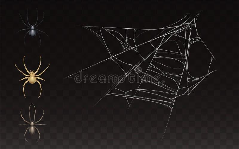 Vectorinzameling van realistisch Web met spin stock illustratie