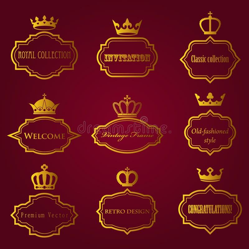 Vectorinzameling van retro kaders met kronen royalty-vrije illustratie
