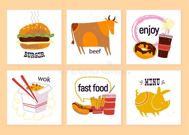 Vectorinzameling van snel voedseletiketten voor menuontwerp, bordtekening, speciale aanbieding enz. die adverteren De koe, hambur vector illustratie