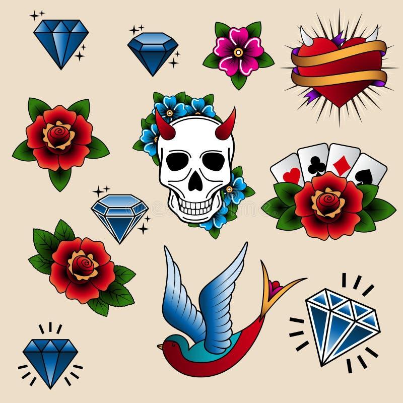 Vectorinzameling van tatoegeringselementen in oude schoolstijl royalty-vrije illustratie