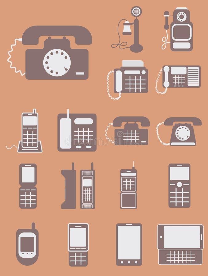 Vectorinzameling van verschillende telefoons, van retro schrijver uit de klassieke oudheid aan mod. royalty-vrije illustratie