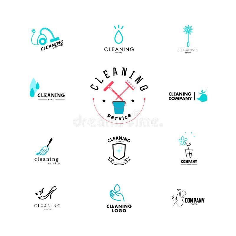 Vectorinzameling van vlak embleem voor het schoonmaken van bedrijf royalty-vrije illustratie