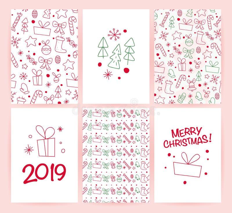 Vectorinzameling van vlakke die de gelukwenskaarten van de Kerstmisvakantie met patronen & tekst op lichte achtergrond wordt geïs stock illustratie