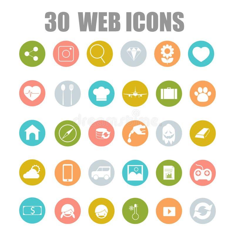 Vectorinzameling van vlakke en kleurrijke Webpictogrammen op het bedrijfs, het winkelen en technologiethema van SEO, vector illustratie