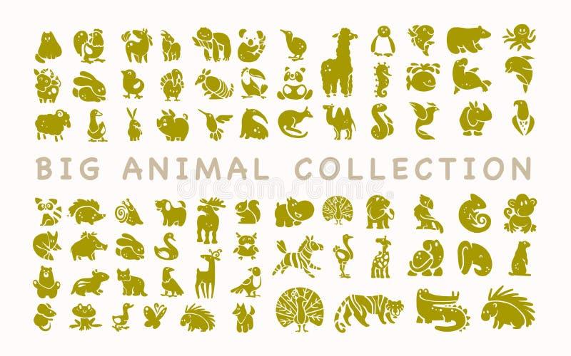 Vectorinzameling van vlakke leuke dierlijke die pictogrammen op witte achtergrond wordt geïsoleerd royalty-vrije illustratie