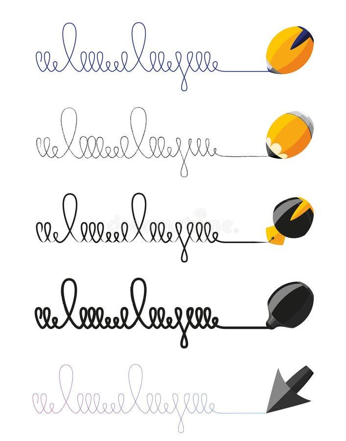 Vectorinzamelingen van bureau het schrijven hulpmiddelen stock fotografie