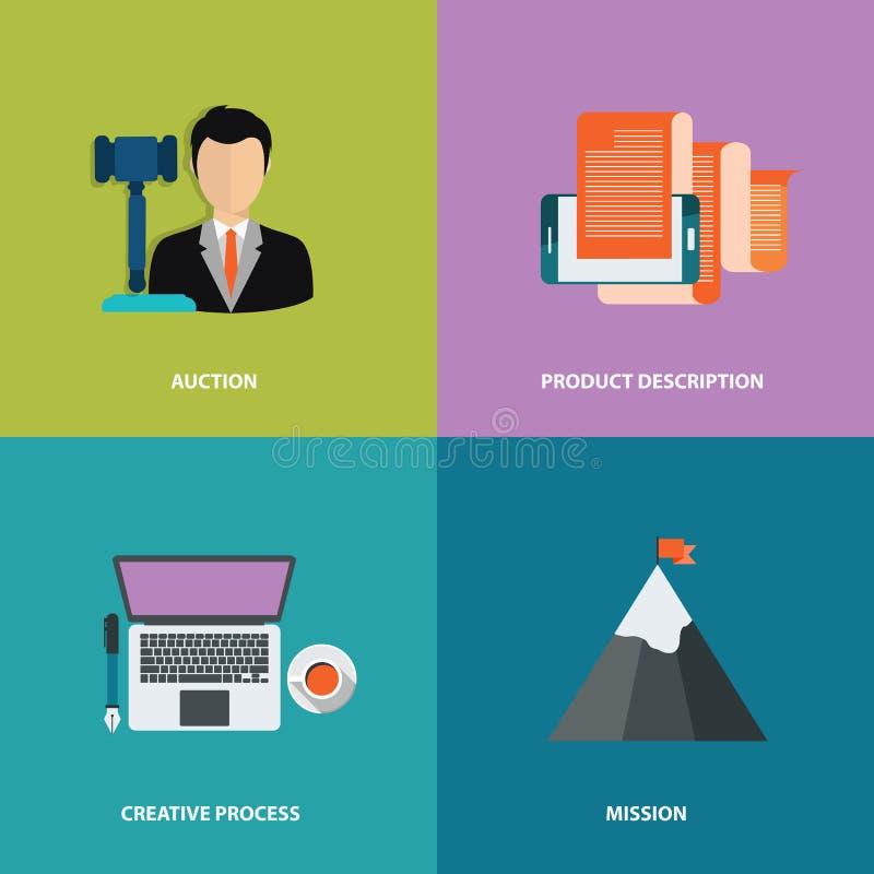 Vectorinzamelings bedrijfs, marketing en financiën concepten Ontwerpelementen voor Web en mobiele toepassingen Vlakke vector stock illustratie