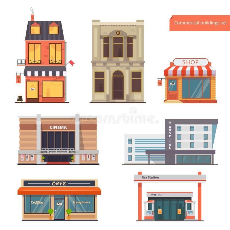 Vectorinzamelingspubliek, Stadsgebouwen Bank, Hotel/Herberg, Winkel, Bioskoop, het Ziekenhuis, Restaurant/Koffie, Benzinestation  vector illustratie