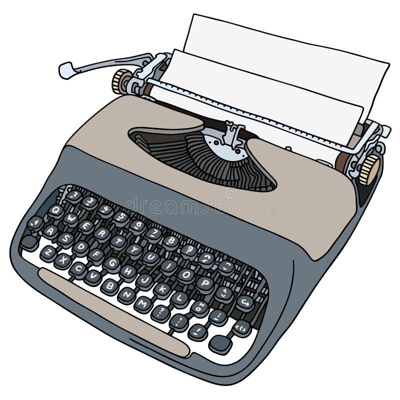 The retro gray portable typewriter. The vectorized hand drawing of a retro gray portable typewriter stock illustration