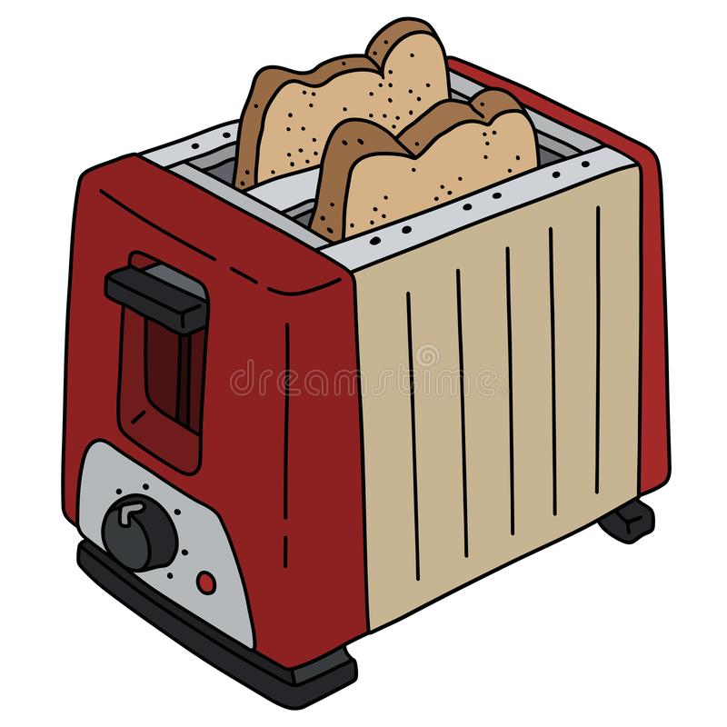 The retro red and cream electric toaster stock illustration
