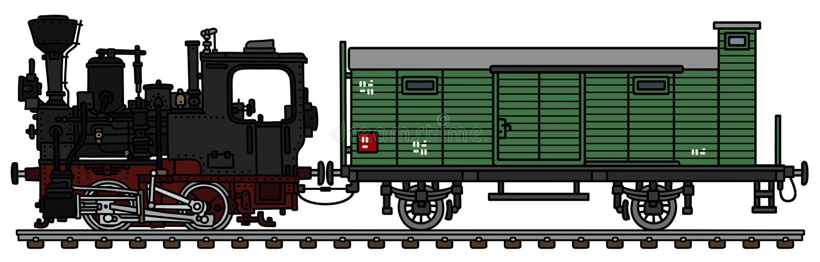 The old small steam locomotive and the freight wagon vector illustration