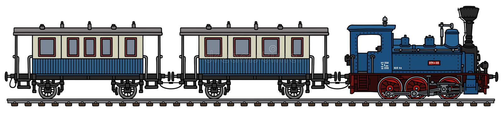 The vintage blue personal steam train vector illustration