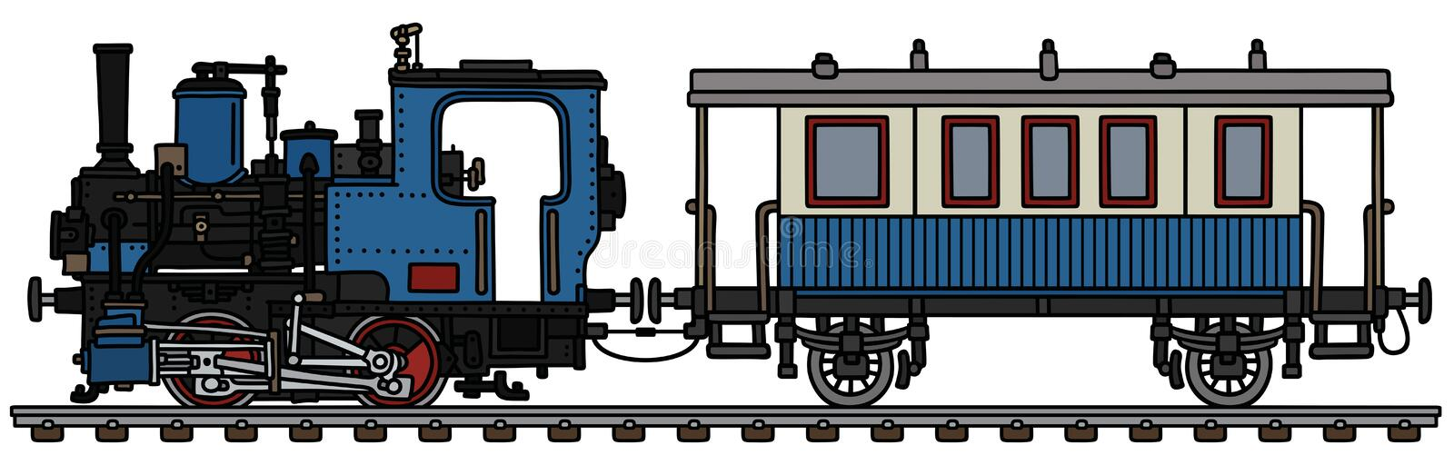 The vintage blue small steam train stock illustration