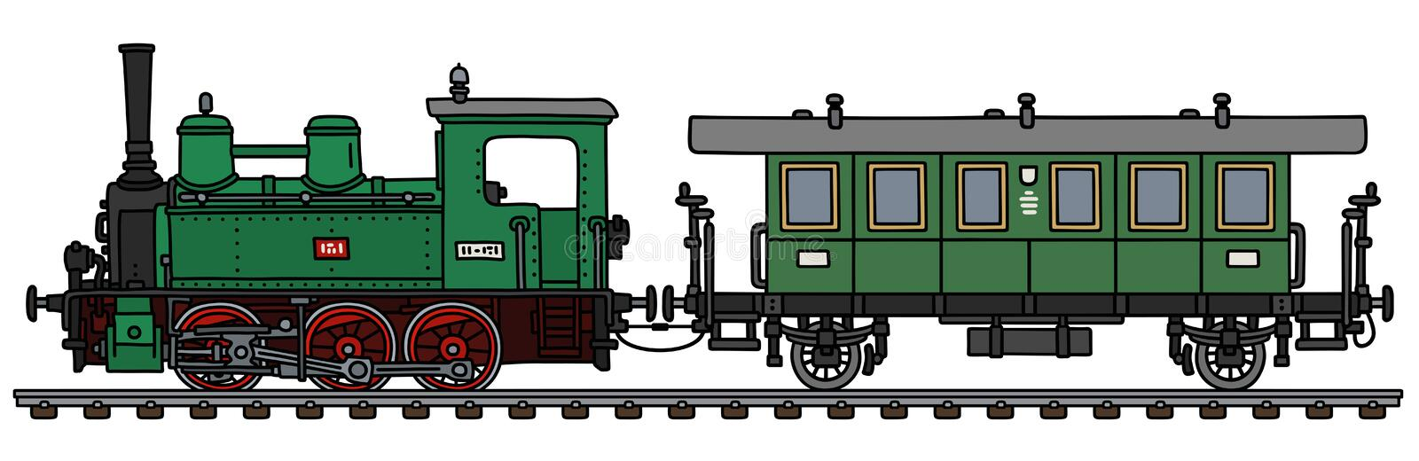 The green steam locomotive and a coach stock illustration