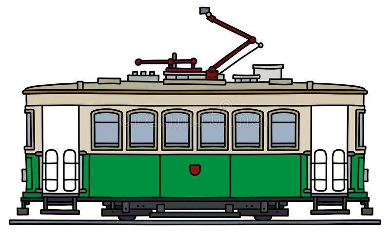 The vintage green and white tramway vector illustration