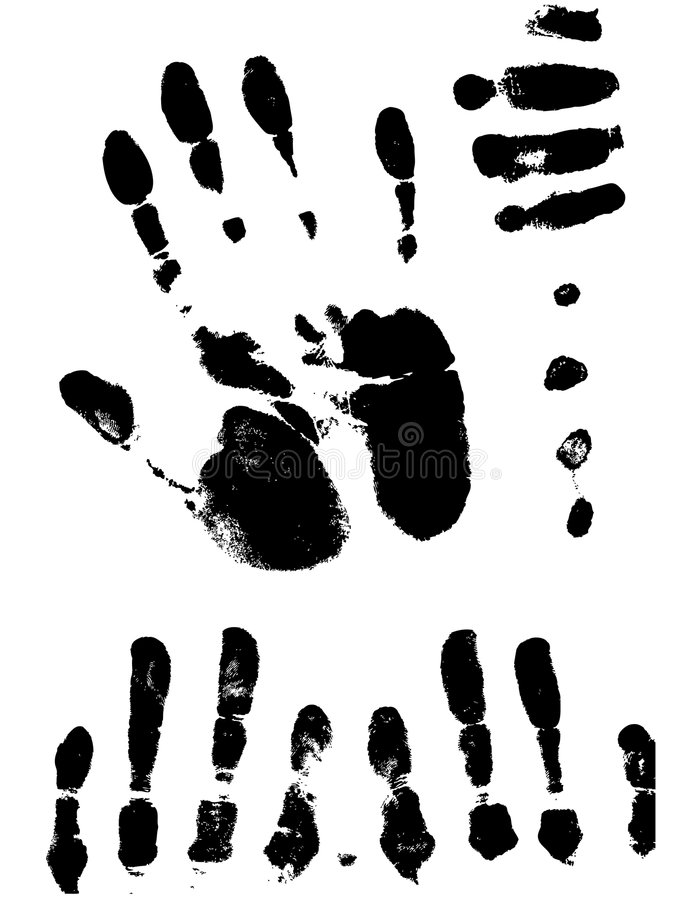 Vectorized Hand Prints and Smeers stock illustration
