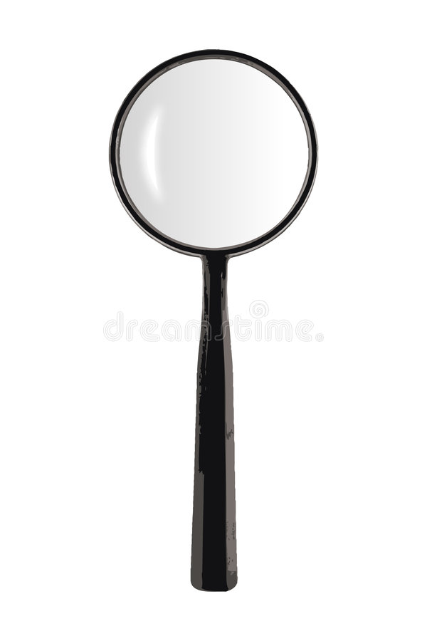 Vectorized Magnifying Glass. On white background with gray glass stock illustration