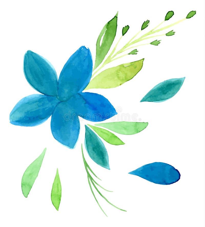 Vectorized vattenfärghand som drar blom- tema stock illustrationer