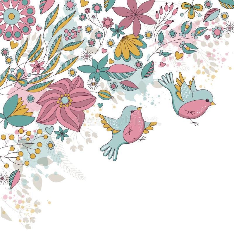 Vectorkaart met bloemen en vogels stock illustratie