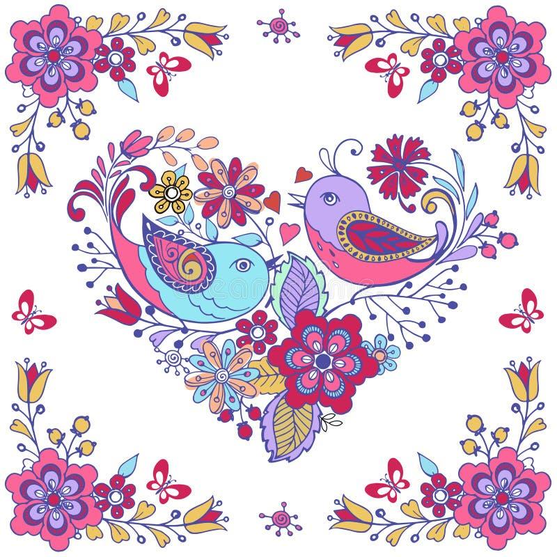 Vectorkaart met leuk vogelroze en blauw stock illustratie