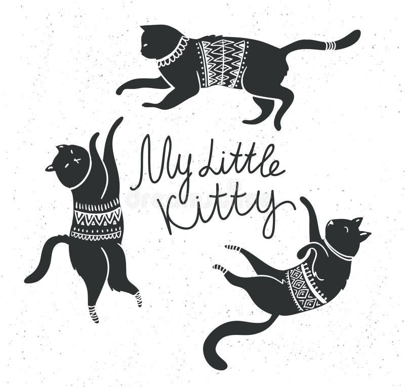 Vectorkaart met leuke witte katten en het modieuze van letters voorzien & x27; mijn weinig kitty& x27; stock illustratie