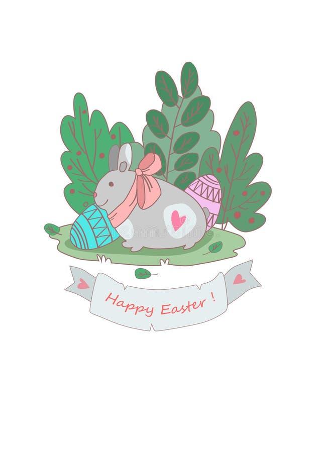 Vectorkaart met Pasen-konijntje stock foto