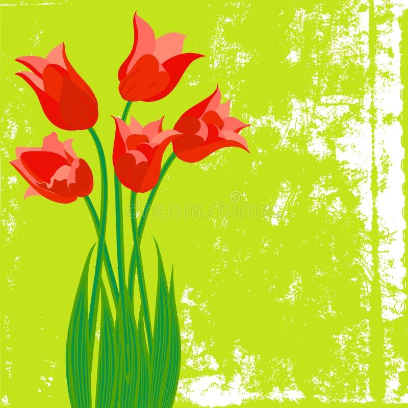Vectorkaart met rode tulpen op geweven achtergrond vector illustratie