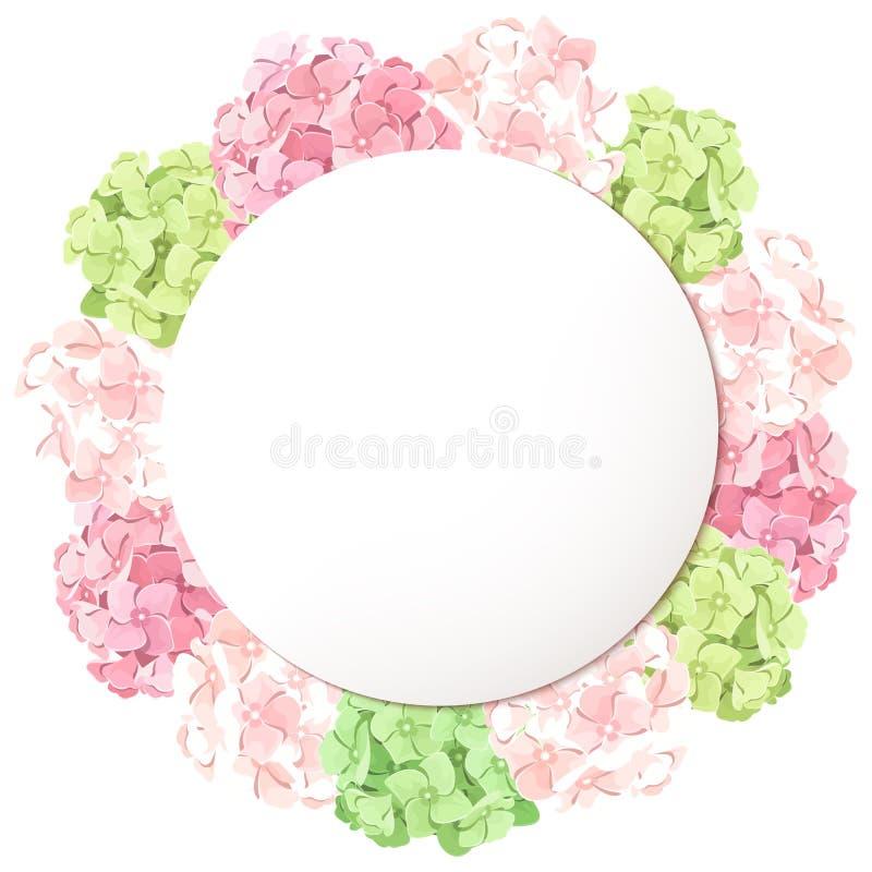 Vectorkaart met roze en groene hydrangea hortensiabloemen Eps-10 royalty-vrije illustratie