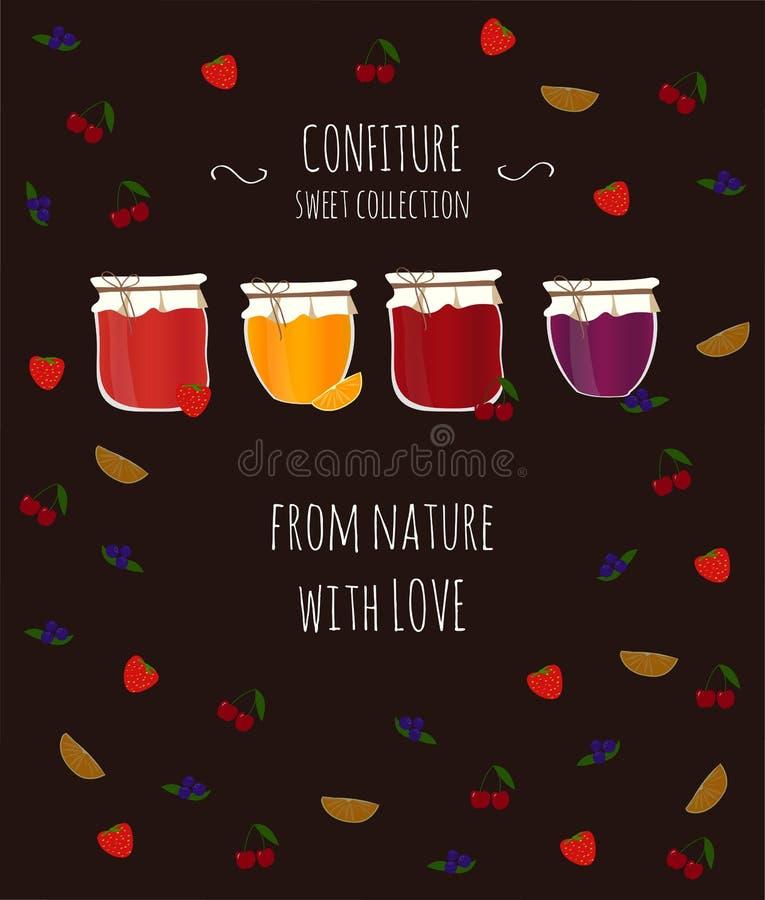 Vectorkaart met sinaasappel, bosbessen, aardbei en kersenjam, met tekst voor ontwerp vector illustratie