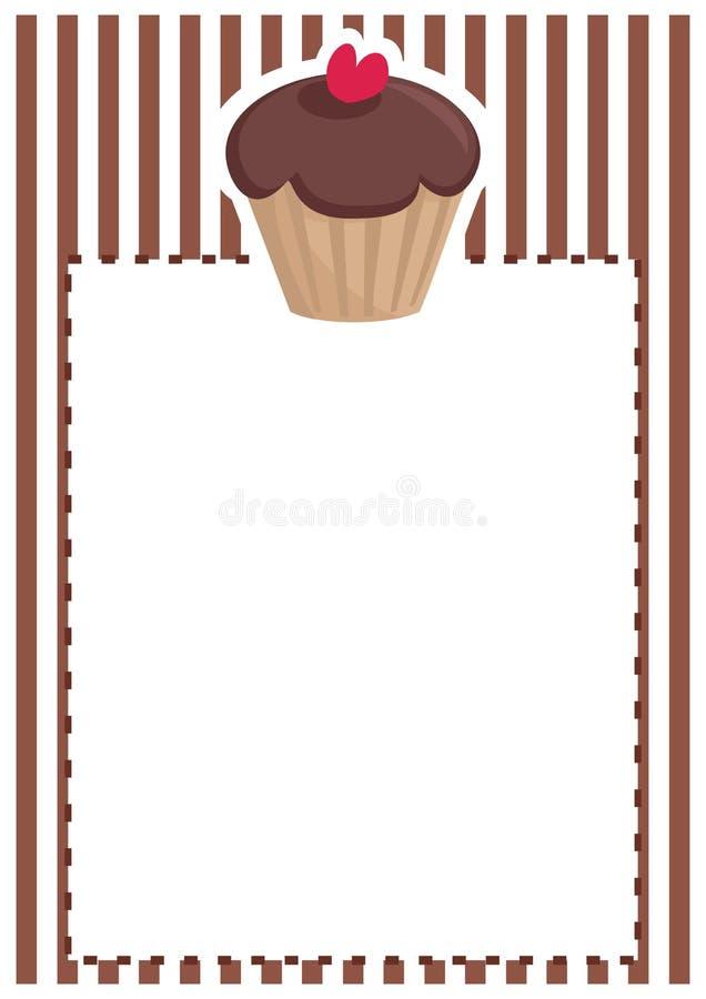 Vectorkaart of uitnodiging met chocolade cupcake royalty-vrije illustratie