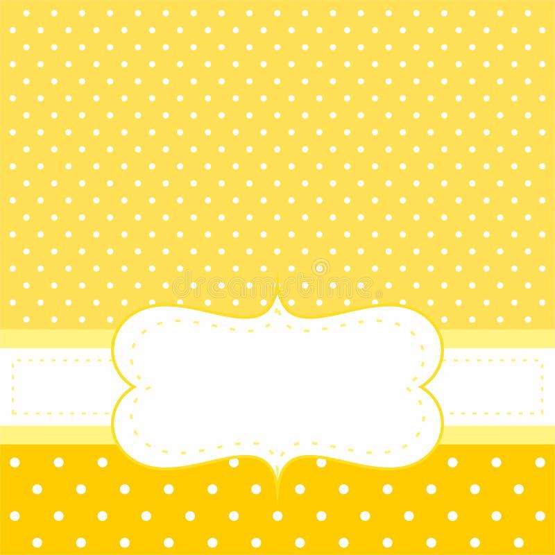 Vectorkaart of uitnodiging met gele achtergrond, witte stippen royalty-vrije illustratie