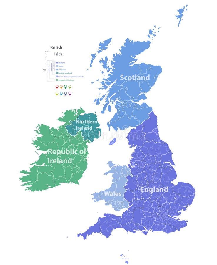 Vectorkaart van Britse Eilanden royalty-vrije illustratie