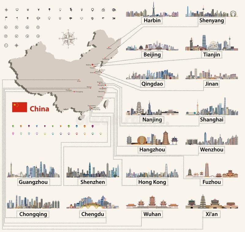 Vectorkaart van China met grootste Chinese stadshorizonnen vector illustratie