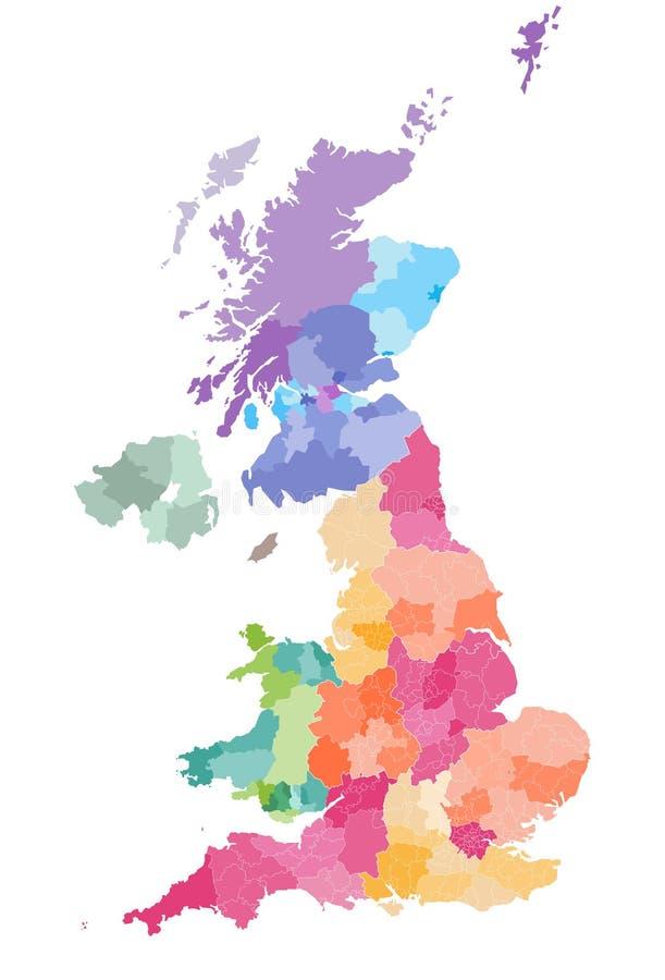 Vectorkaart van de administratieve die afdelingen van het Verenigd Koninkrijk door landen en gebieden wordt gekleurd Districten e stock illustratie