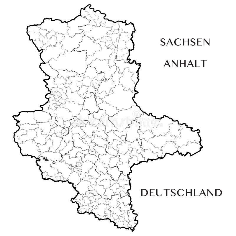 Vectorkaart van de staat van Saksen Anhalt, Duitsland vector illustratie