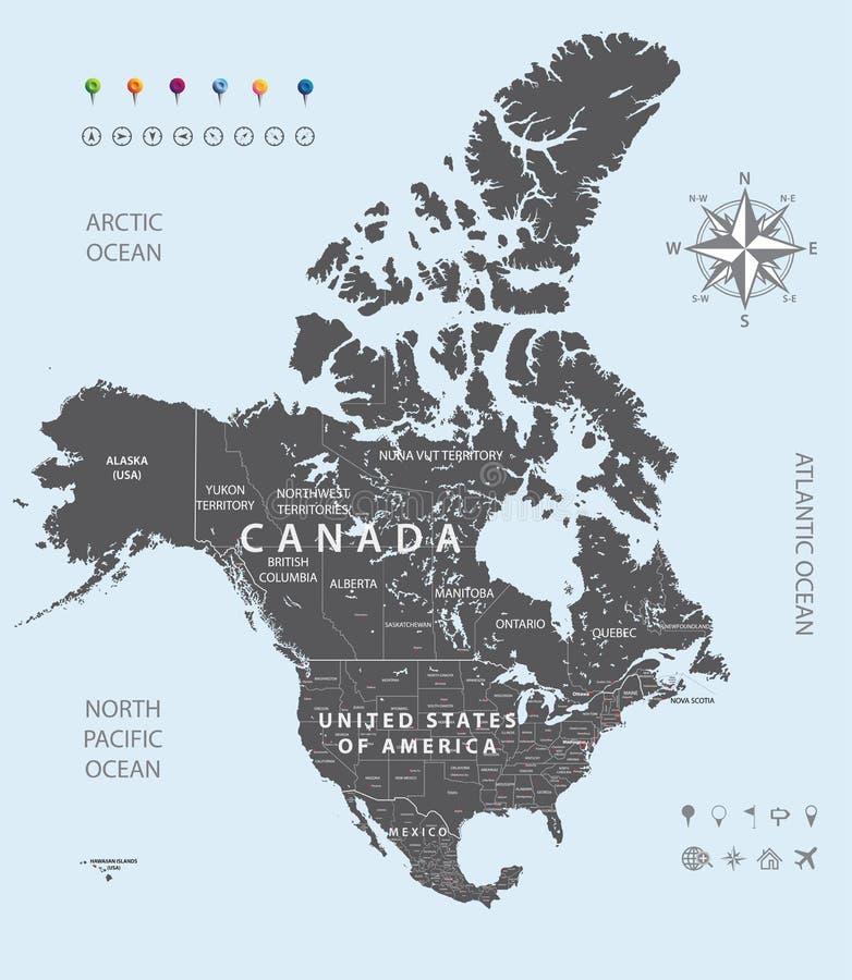 Vectorkaart van de staten van de V.S., van Canada en van Mexico stock illustratie
