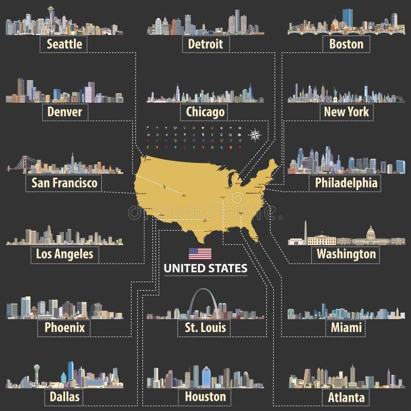 Vectorkaart van de Verenigde Staten van Amerika met grootste steden` horizonnen stock illustratie