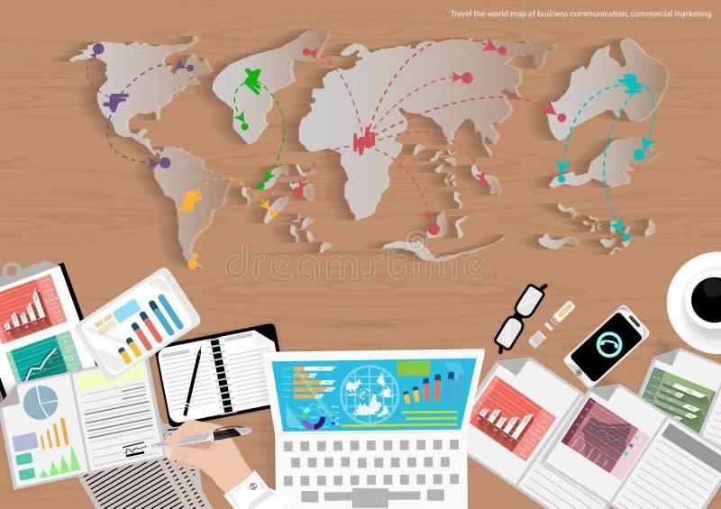 Vectorkaart van de wereld van bedrijfsreis, mededeling, handel, marketing en bureauobjecten vlak ontwerp stock illustratie