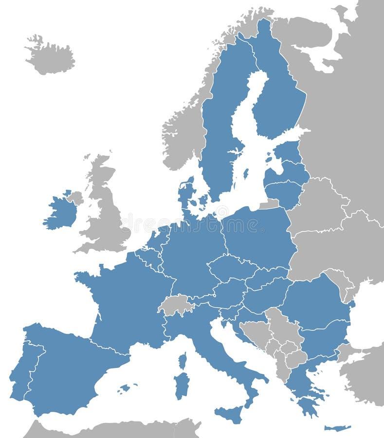 Vectorkaart van Europa met Europese Unie lidstaten exclusief het Verenigd Koninkrijk royalty-vrije illustratie