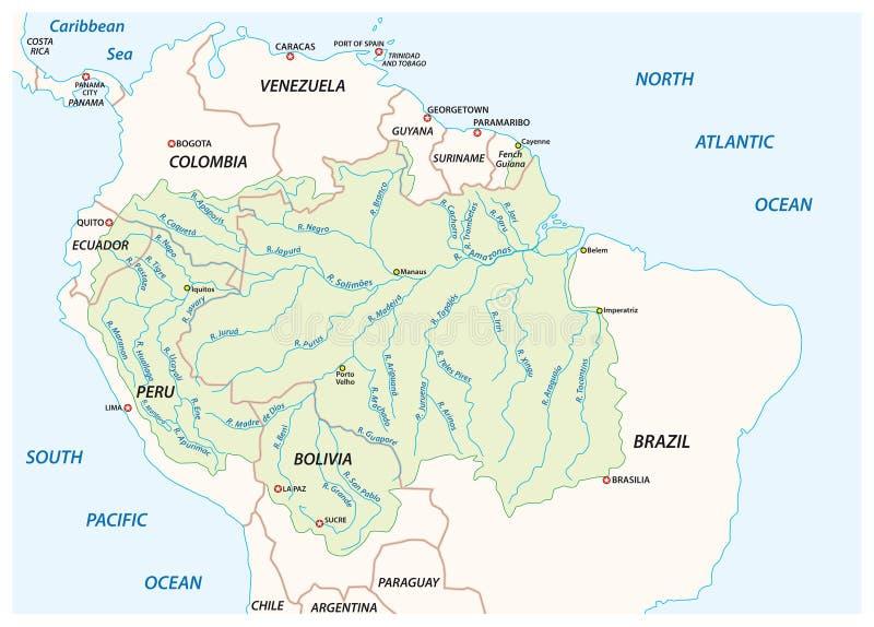 Vectorkaart van het bassin van de de Rivierdrainage van Amazonië royalty-vrije illustratie