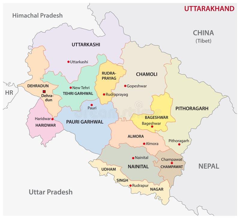 Vectorkaart van het Uttarakhand de administratieve en politieke district, India stock illustratie