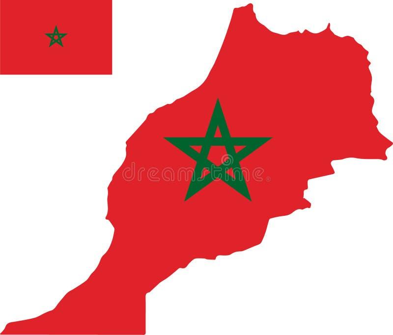 Vectorkaart van Marokko met vlag geïsoleerde, witte achtergrond stock illustratie