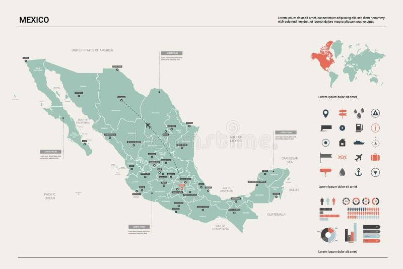 Vectorkaart van Mexico royalty-vrije illustratie