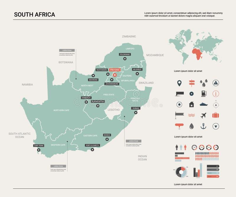 Vectorkaart van Zuid-Afrika RSA stock illustratie