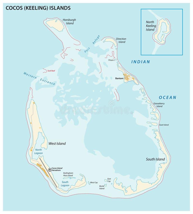 Vectorkaart van zuiden de keeling eilanden