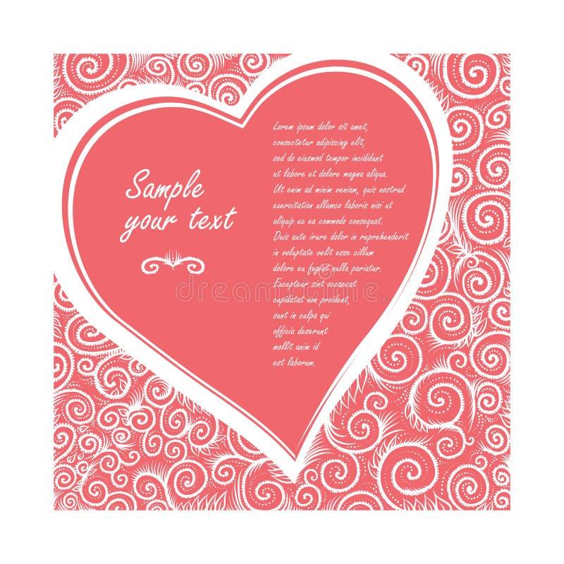 Vectorkaart in vorm van hart op een roze achtergrond van overladen patroon De uitnodiging van het ontwerphuwelijk, het begroeten  stock illustratie